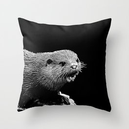 fish otter on a rock vector art black white Throw Pillow