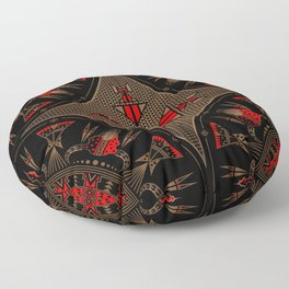 buffalo gathering Red Floor Pillow