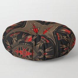 buffalo gathering Red Floor Pillow