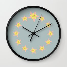 Columbines Scattered Wall Clock