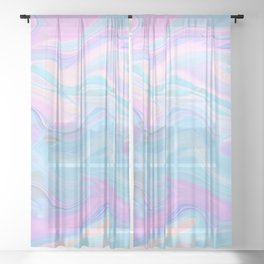 Sea Marble Candy Pattern - Violet, Aqua and Blue Sheer Curtain