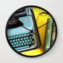 Typewriter and Vintage Books Wall Clock