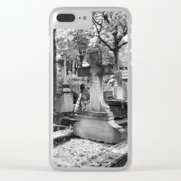 Père Lachaise Cemetery in Black and White, Paris France Clear iPhone Case