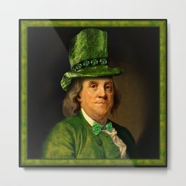 St Patrick's Day for Lucky Ben Franklin Metal Print