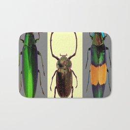 BEETLES ON CREAM & GREY  ABSTRACT ART Bath Mat