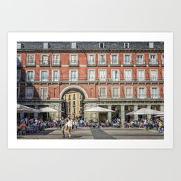 Relaxing cup in Plaza Mayor, Madrid Art Print