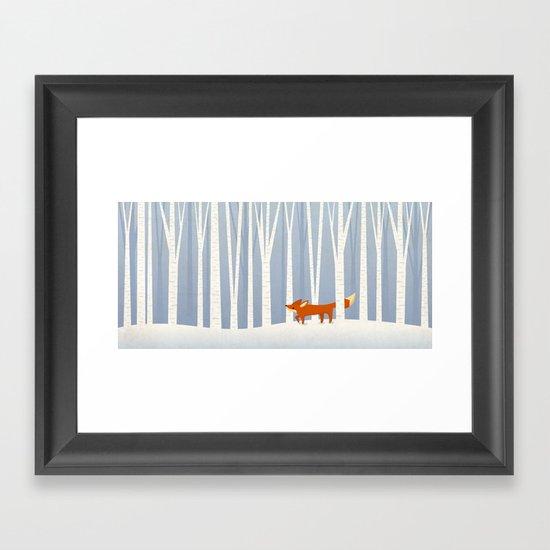 Fox in the Snow Framed Art Print