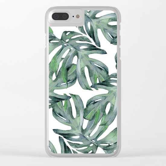 Tropical Palm Leaves Green Clear iPhone Case