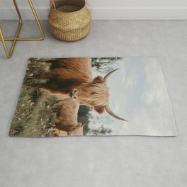 Highland Cow In The Country Rug