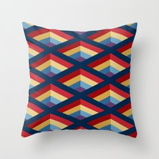 SQUARE HOLES / midnight blue / ketchup red / putty yellow / phthalo blue / violet Throw Pillow
