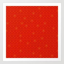 Red Orange Imperial Cogs Art Print