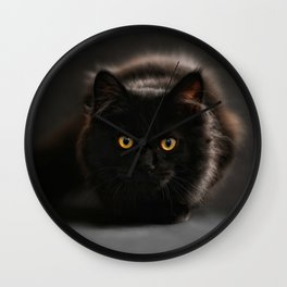 Look into the eyes of a black cat Wall Clock