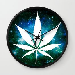 Weed : High Times Green Blue Galaxy Wall Clock