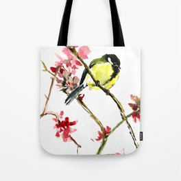 Great Tit and Spring Blossom Tote Bag
