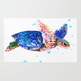 Sea Turtle, blue rainbow Rug