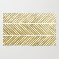 gold foil Area & Throw Rugs featuring Gold Foil Chevron by Berty Bob