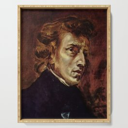 The Portrait of Frédéric Chopin by French artist Eugène Delacroix (1838) Serving Tray