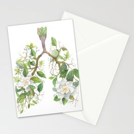 Floral Lungs Anatomy with Flowers, Breathing Gardenia Stationery Cards