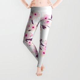 Cherry Blossom Pink White Leggings