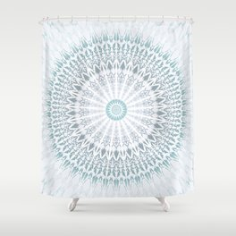 Teal Aqua Mandala Shower Curtain
