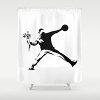 banksy Shower Curtains featuring #TheJumpmanSeries, Banksy by @thepeteyrich