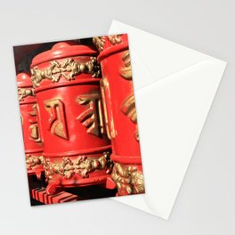 Red prayer drums row Stationery Cards
