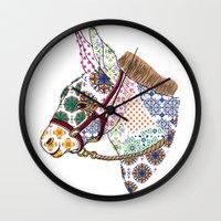 donkey Wall Clocks featuring DONKEY by Mai Kurihara