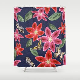 Lilies and Butterflies Shower Curtain