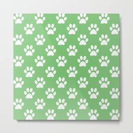Green and white paw prints pattern Metal Print