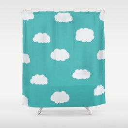 Cartoon Clouds Pattern Shower Curtain