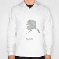 alaska Hoodies featuring Alaska map by David Zydd - Colorful Mandalas & Abstrac