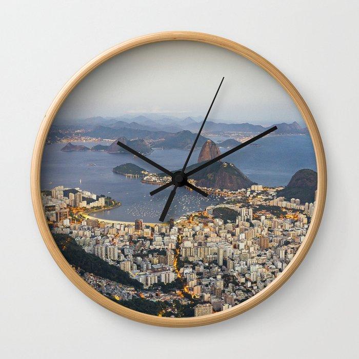 Beautiful Rio de Janeiro at sunset Wall Clock