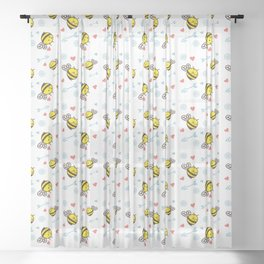 Cuddly Bees and Arrows Sheer Curtain