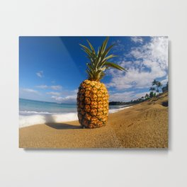 Beached Pineapple Metal Print