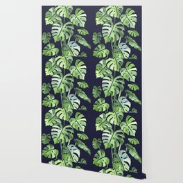 Delicate Monstera Blue #society6 Wallpaper