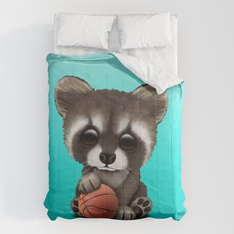 Cute Baby Raccoon Playing With Basketball Comforters