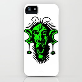 Green Fierce Primal Tribal Mask, Wild Mask, Super Smooth Super Sharp 13500px x 10125px PNG iPhone Case