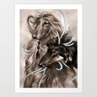 the hound Art Prints featuring Hound Dog by Estúdio Marte