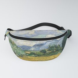 Wheat Field with Cypresses by Vincent van Gogh Farmhouse Aesthetic Blue Emerald Green Golden Yellow Fanny Pack