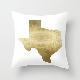 texas gold foil print state map Throw Pillow