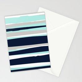Ocean, Stripe Abstract Pattern, Navy, Aqua, Gray Stationery Cards