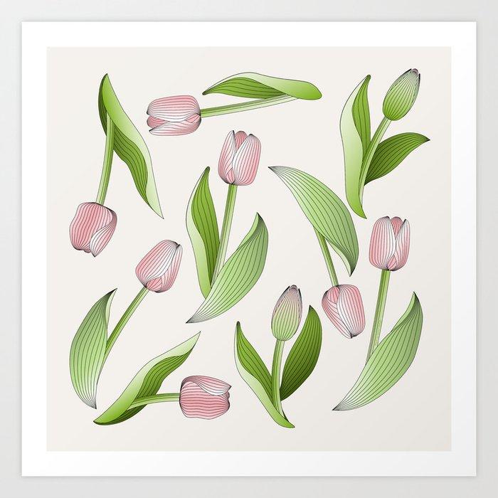 Retro Chic Pink Tulip Patten Art Print