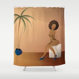 Woman sitting Shower Curtain