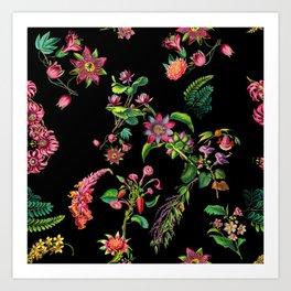 Vintage Bright Color Flowers Art Print