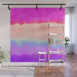 Modern girly pink magenta violet lavender watercolor stripes Wall Mural