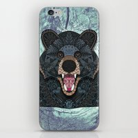 ornate iPhone & iPod Skins featuring Ornate Black Bear by ArtLovePassion