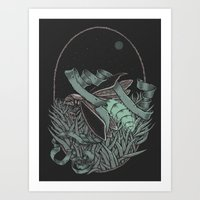 firefly Art Prints featuring Firefly  by BEADLER Design and Illustration