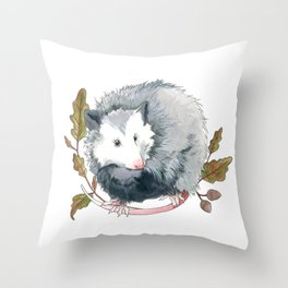 Possum and Oak Leaves Throw Pillow