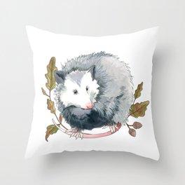 Possum and Oak Leaves Throw Pillow