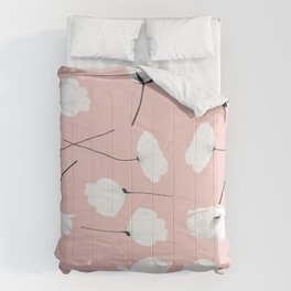 Floral pattern Poppies on blush Comforters